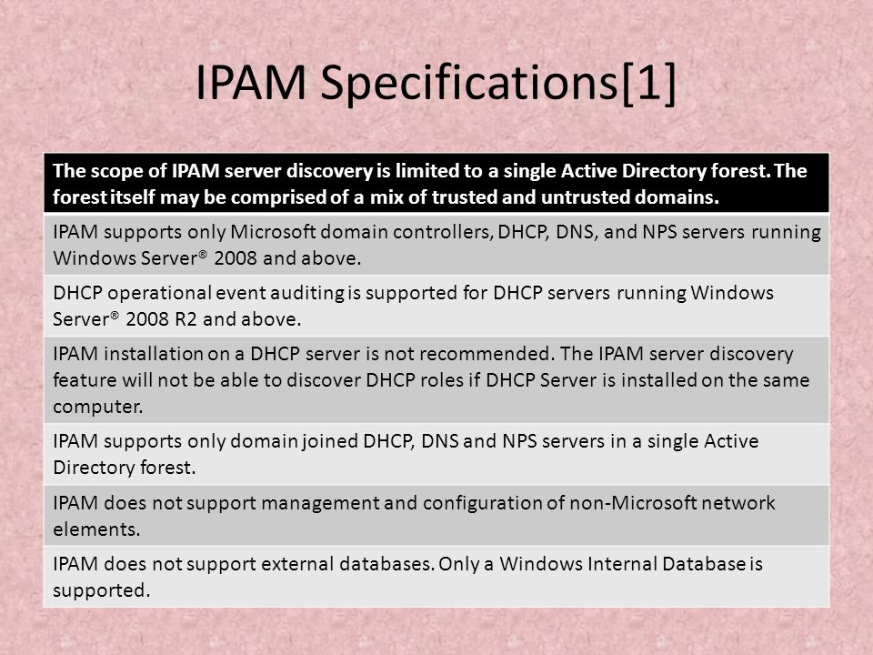 IPAM Specifications[1]